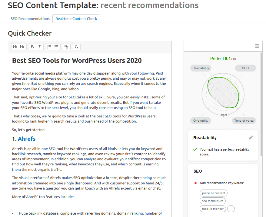 seo content template real time check